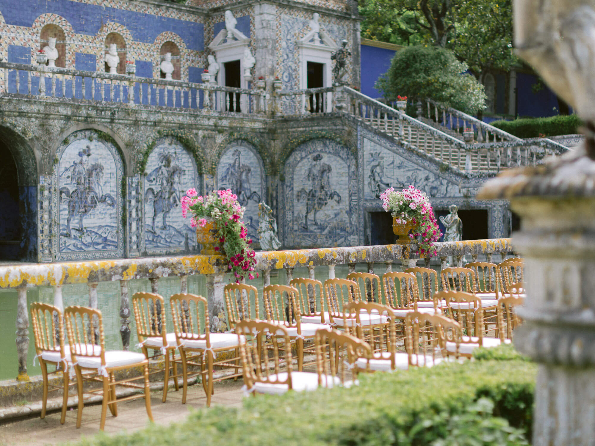 wedding ceremony guest's chairs in beautiful Marques de Fronteira Palace gardens by Portugal Wedding Photographer