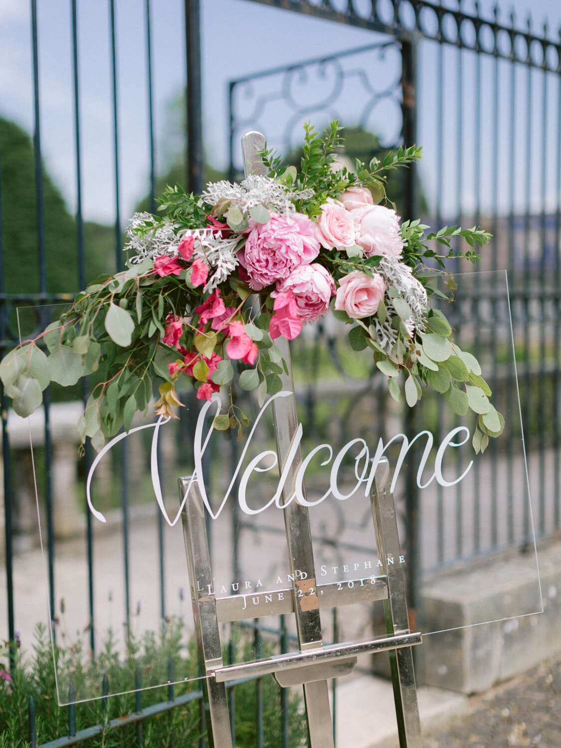 wedding welcome sign with florals by Portugal Wedding Photographer