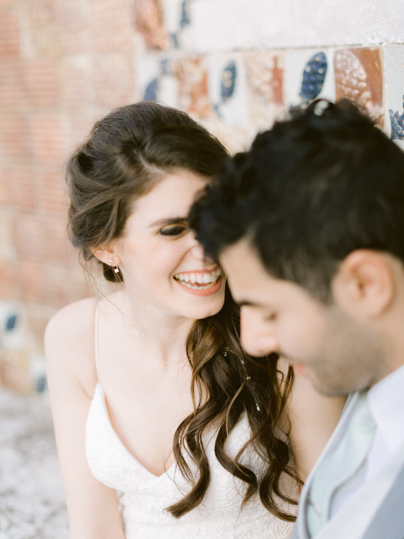 joyful bride and groom close up by Portugal Wedding Photographer