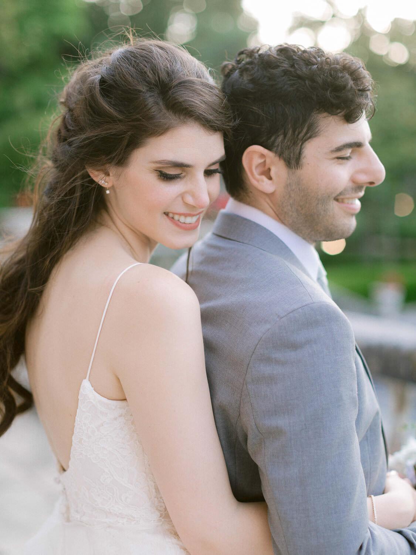 romantic wedding couple embrace by Portugal Wedding Photographer