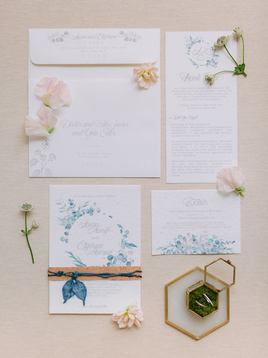 wedding stationery in blue with delicate pink flowers and ring box