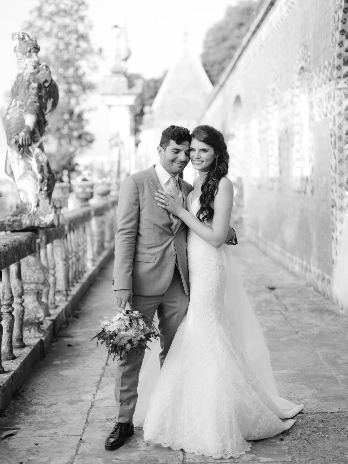 sweet black and white wedding portrait by Portugal Wedding Photographer