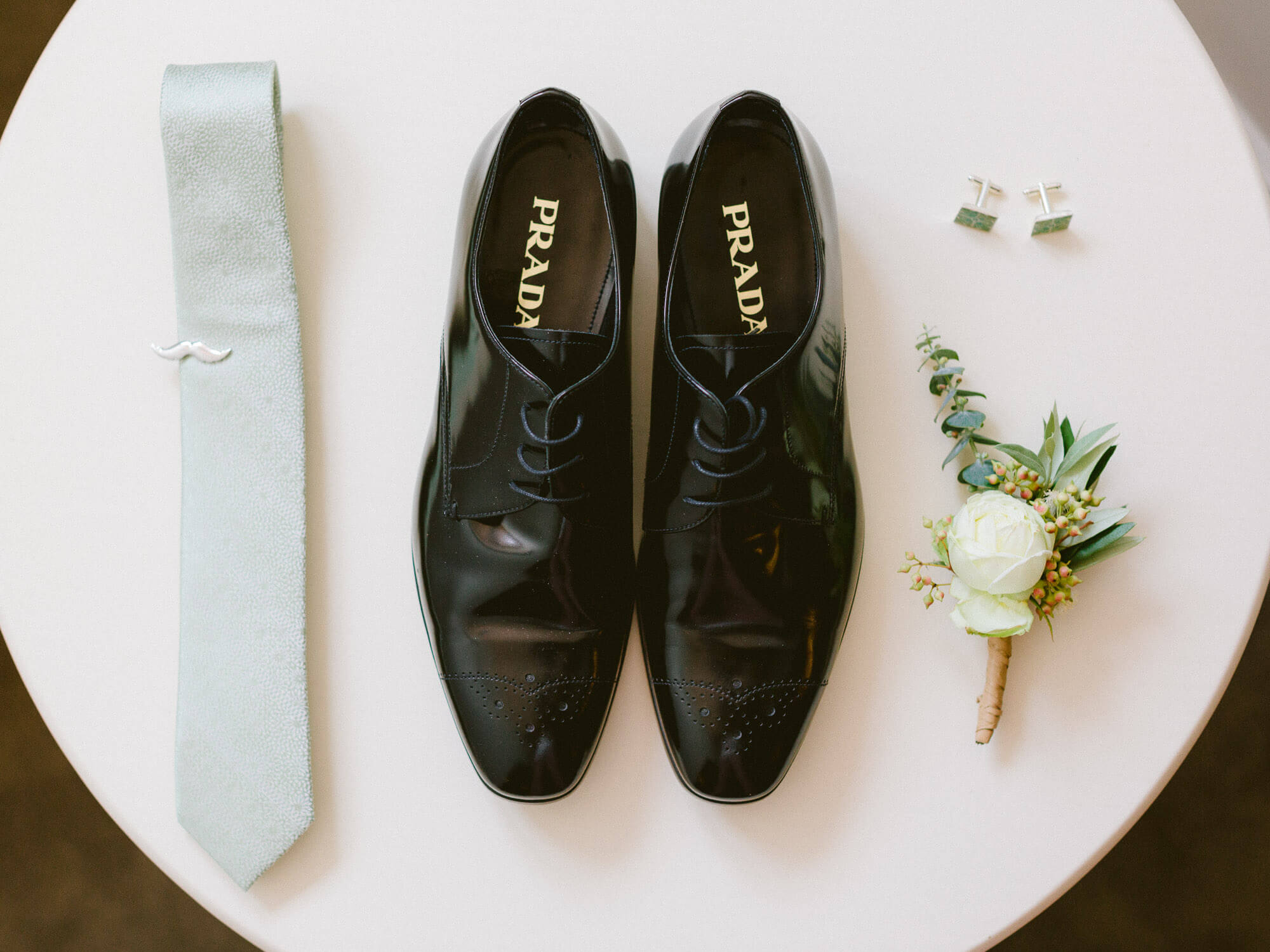 groom's tie, Prada shoes, boutonnière and cufflinks by Portugal Wedding Photographer