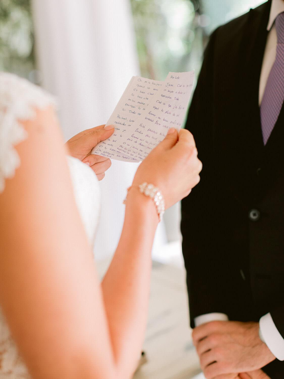 handwritten wedding vows close up by Portugal Wedding Photographer