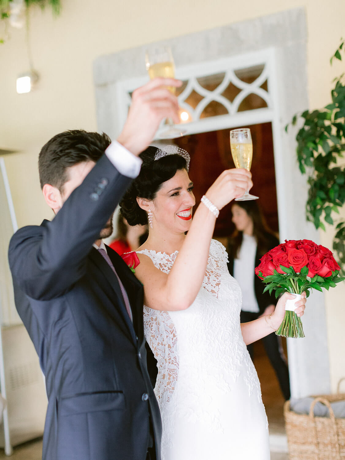 bride and groom toast by Portugal Wedding Photographer