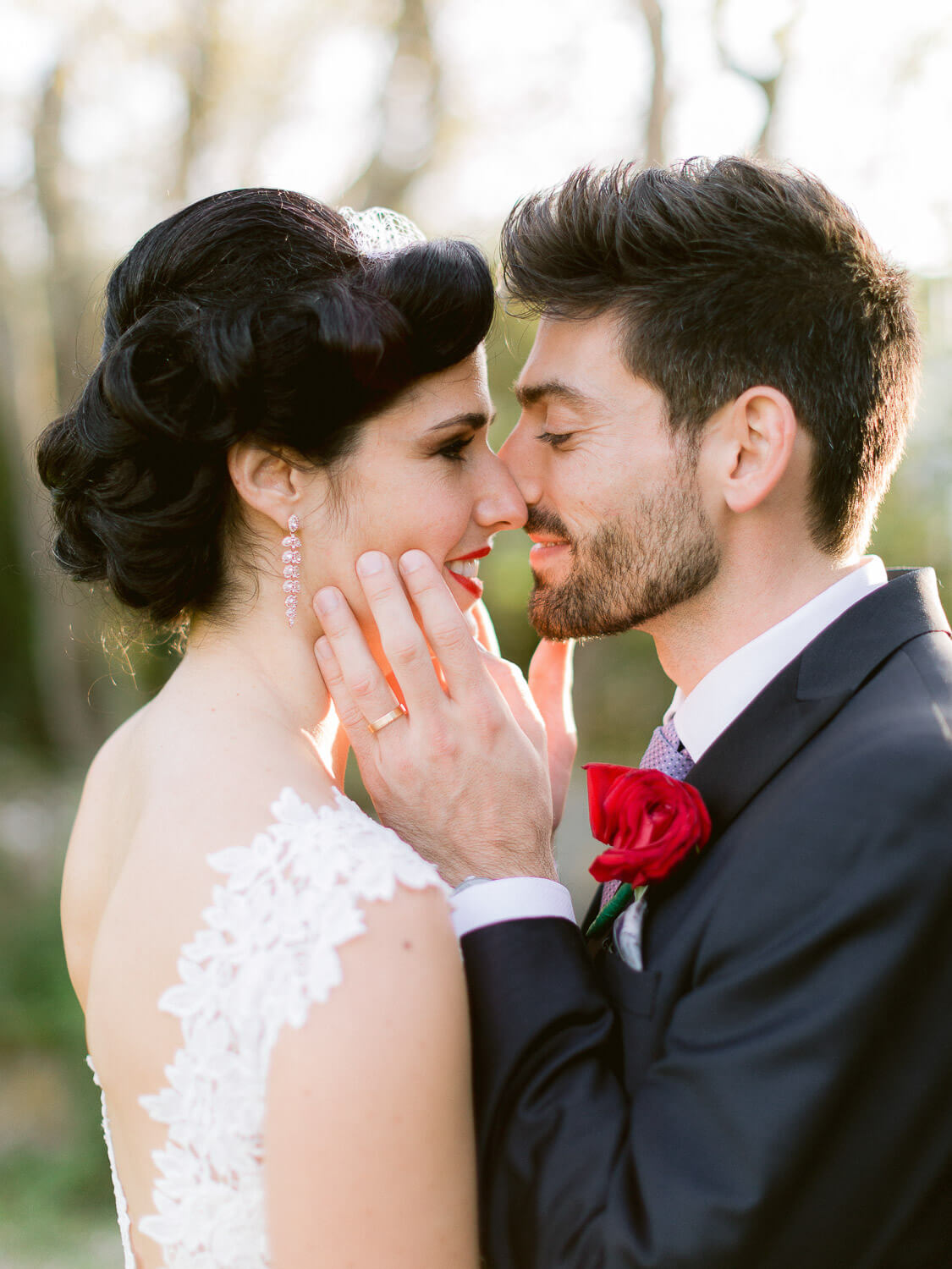 newlyweds endearing gesture close up by Portugal Wedding Photographer