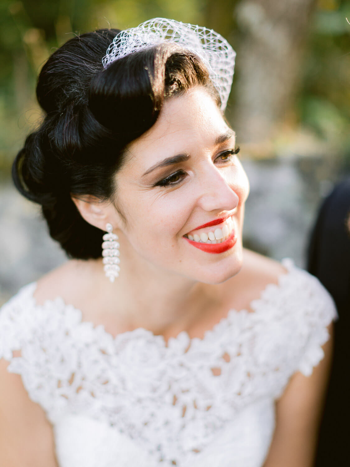 beautiful 50th style bride close up by Portugal Wedding Photographer