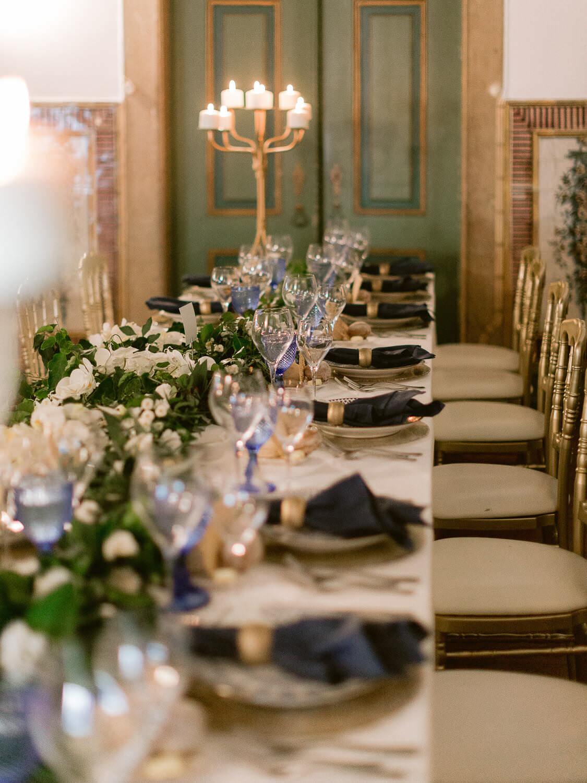 wedding reception long table in Quinta do Torneiro Wedding Venue by Portugal Wedding Photographer