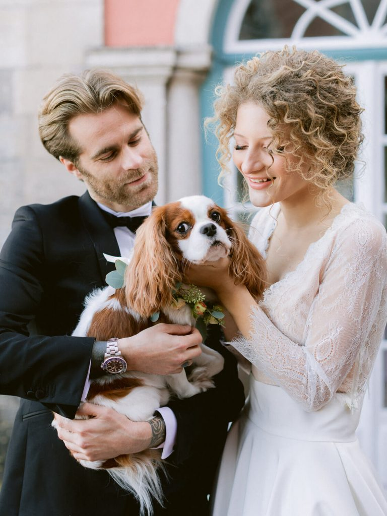 Groom, Bride and Puppy at Casa dos Penedos Sintra by Portugal Wedding Photographer