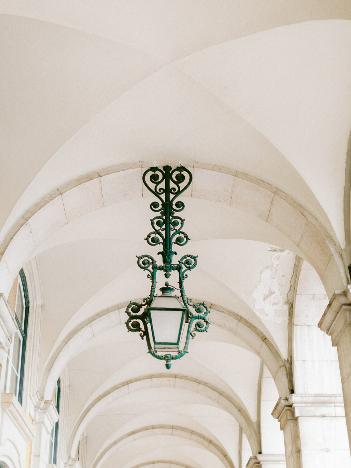 typical ornamented Lisbon green lamp by Portugal Wedding Photographer