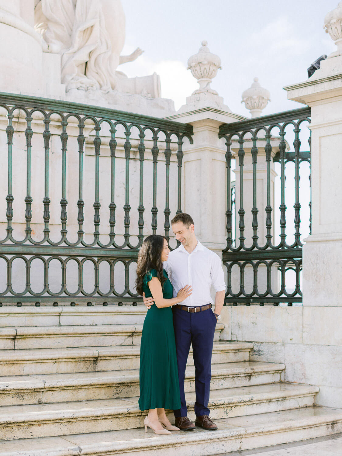 Couple enjoying photographic engagement session in Lisbon by Portugal Wedding Photographer