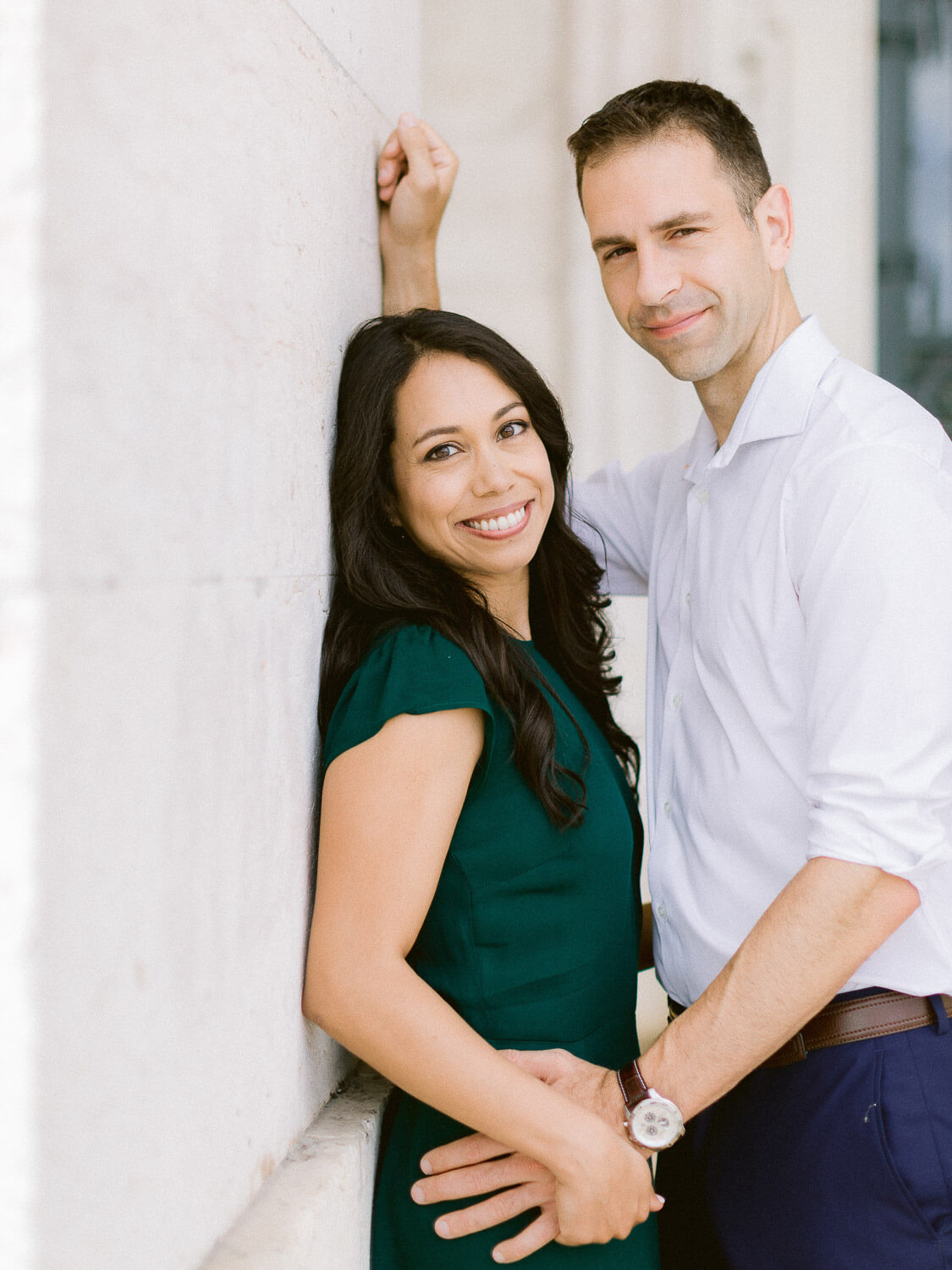 Happy couple photographed in Lisbon during engagement by Portugal Wedding Photographer