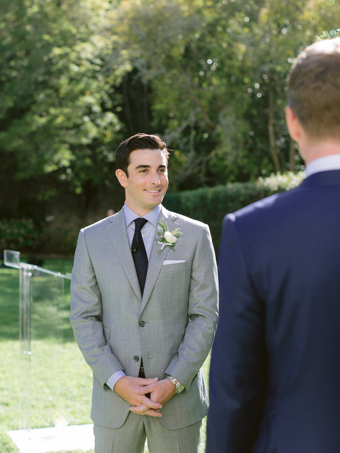 elegant groom during wedding ceremony in Seteais Palace Sintra by Portugal Wedding Photographer