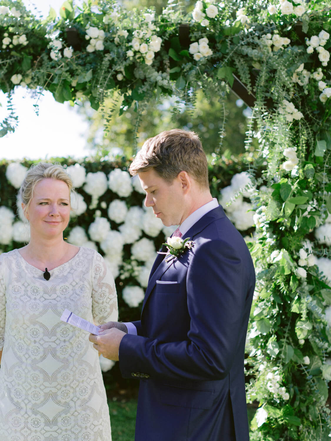 groom reading vows during wedding ceremony in Seteais Palace Sintra by Portugal Wedding Photographer