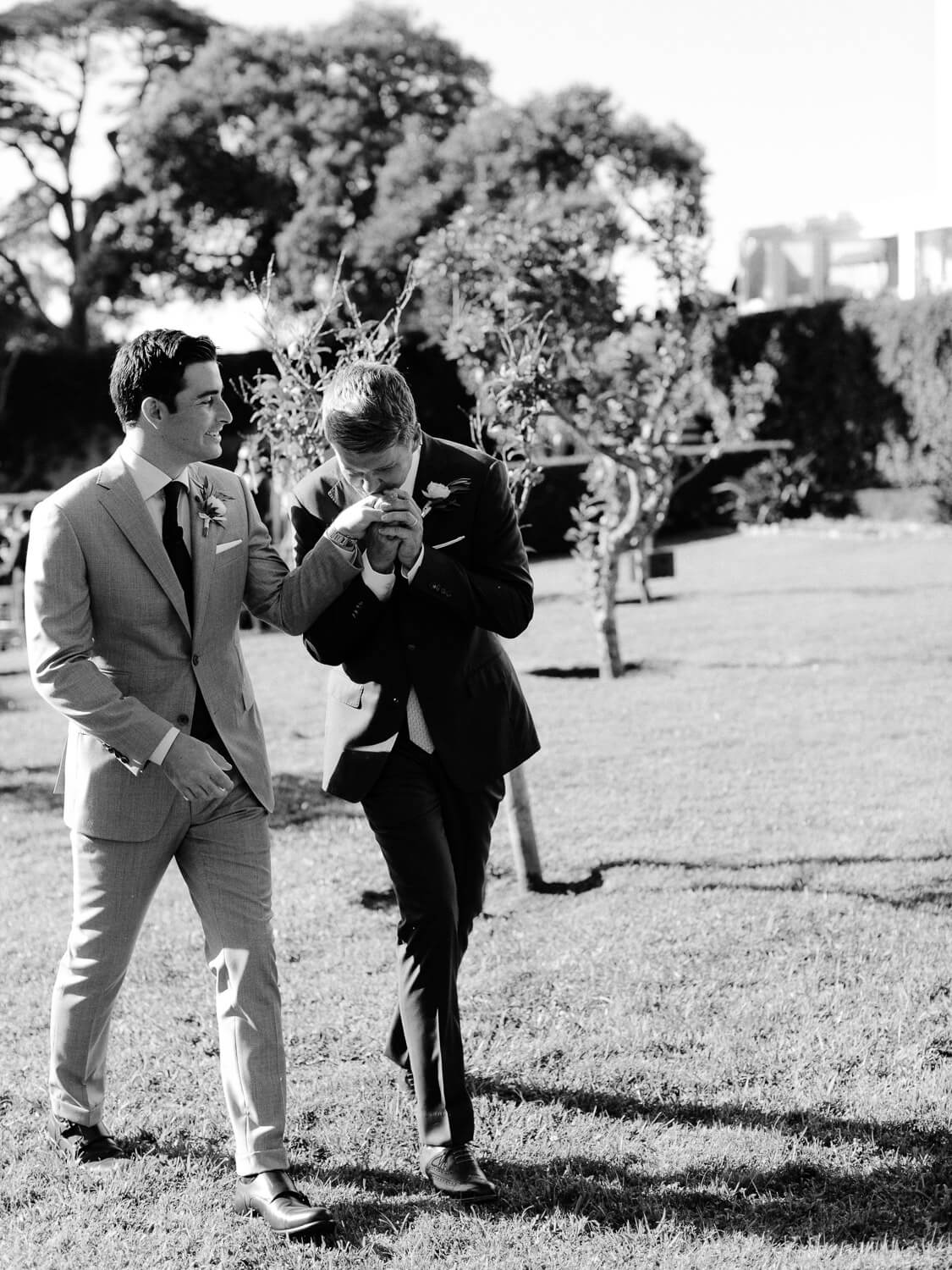 groom and groom romantic walk in Seteais Palace garden after the wedding ceremony by Portugal Wedding Photographer