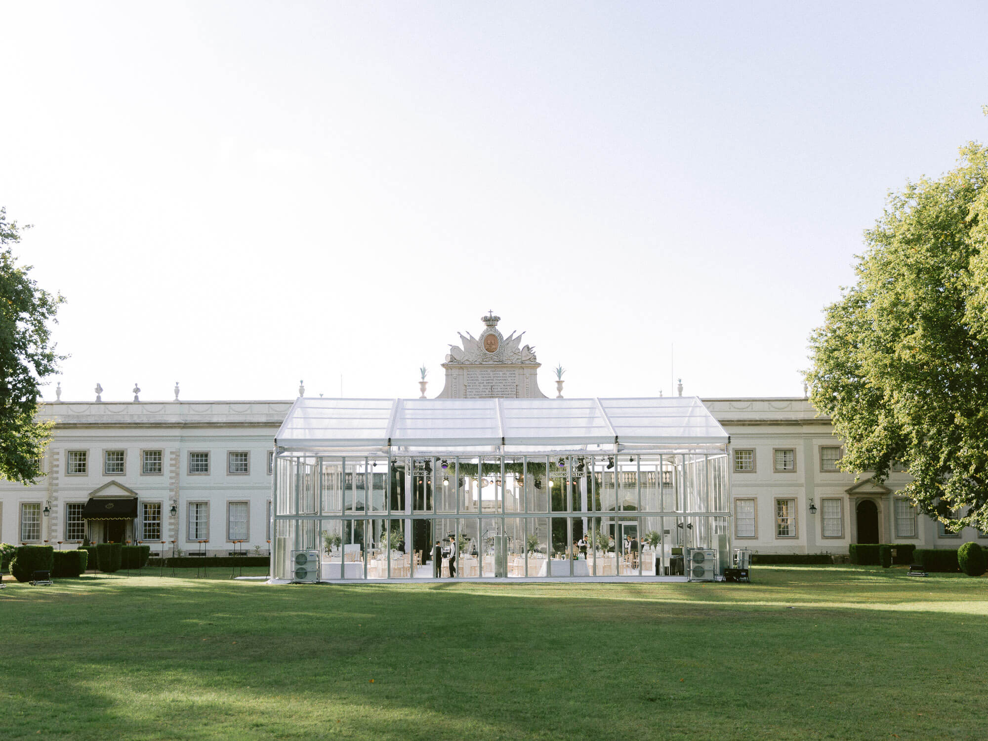 a large transparent tent for wedding reception wedding cocktail in Seteais Palace Sintra by Portugal Wedding Photographer