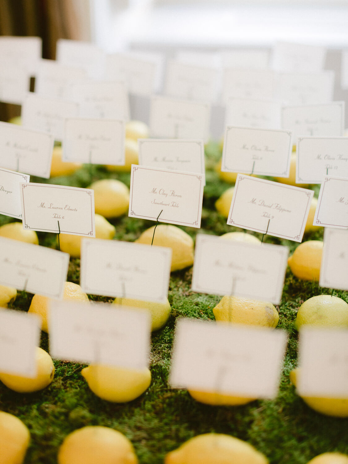 lemon place cards for wedding reception in Seteais Palace Sintra by Portugal Wedding Photographer