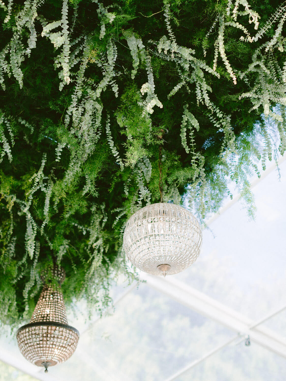 wedding reception greenery ceiling installation detail by Portugal Wedding Photographer