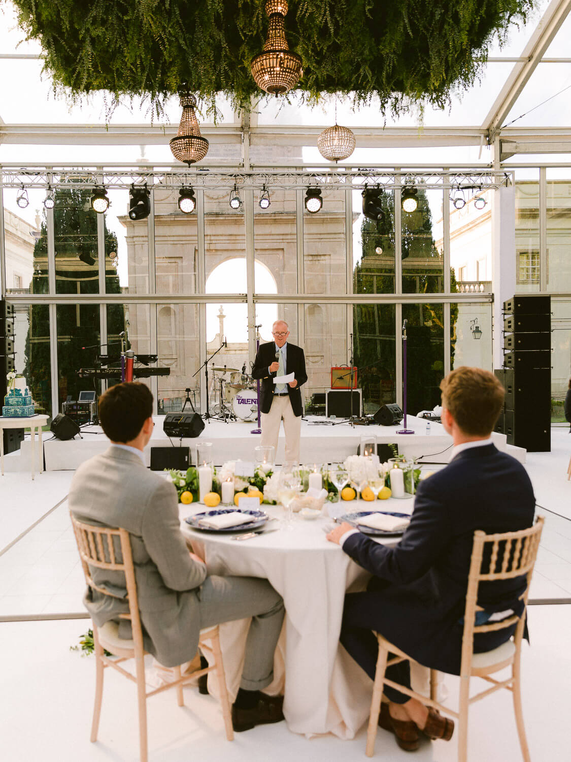 wedding reception speech in Seteais Palace Sintra by Portugal Wedding Photographer