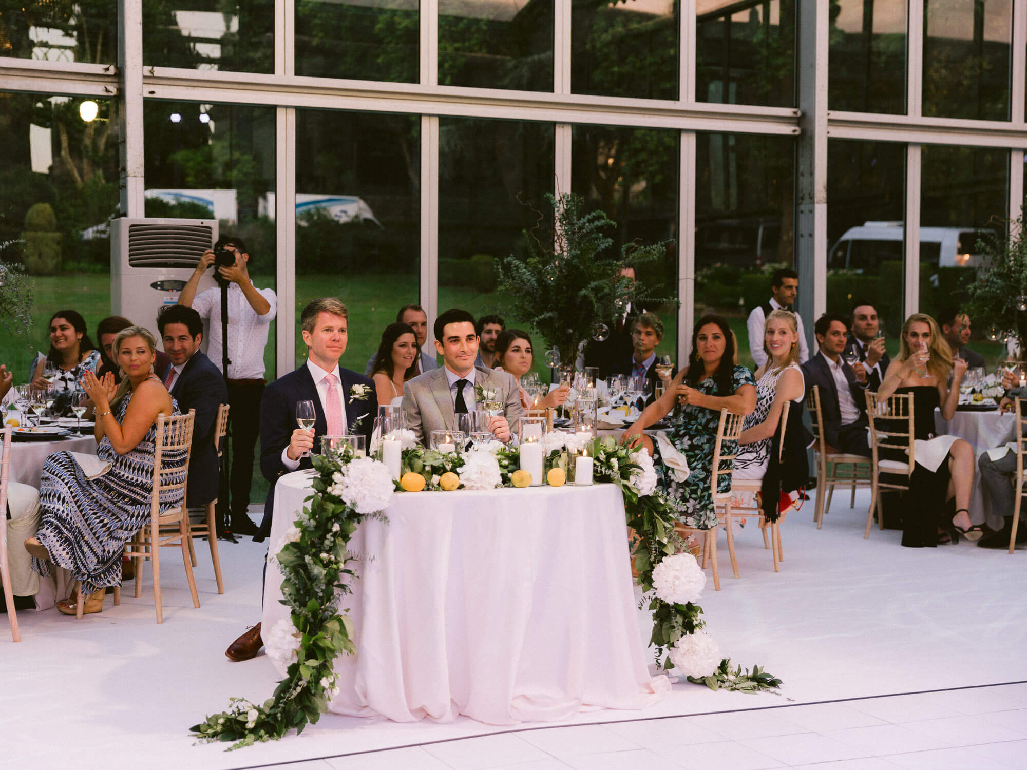 the wedding reception overview of couple and guests in Seteais Palace Sintra by Portugal Wedding Photographer