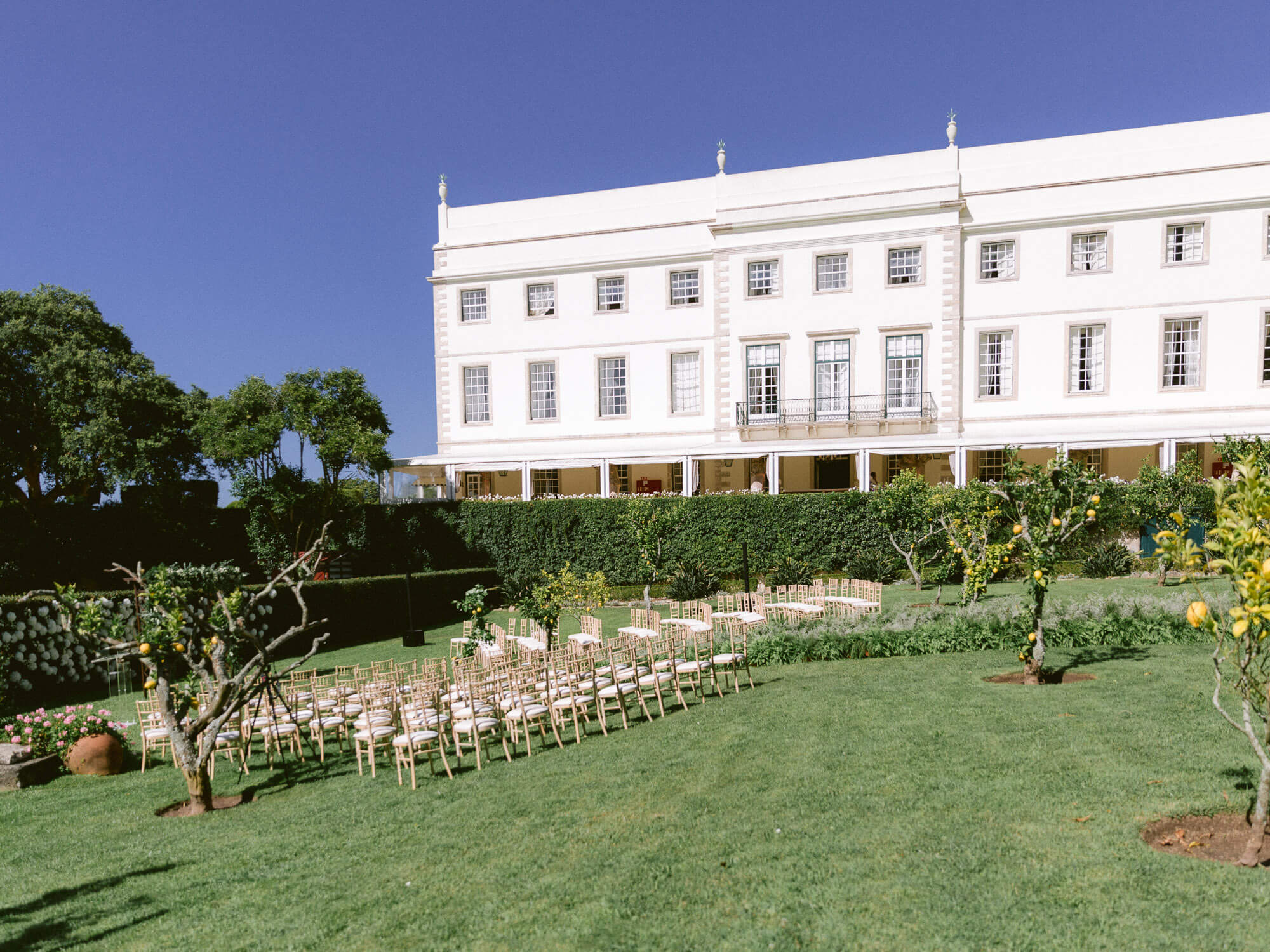 outdoor wedding ceremony setting in Seteais Palace Sintra by Portugal Wedding Photographer