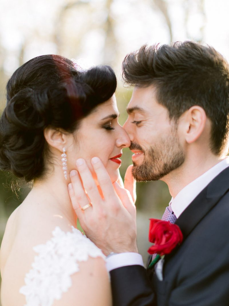 passionate newlyweds closeup by Portugal Wedding Photographer