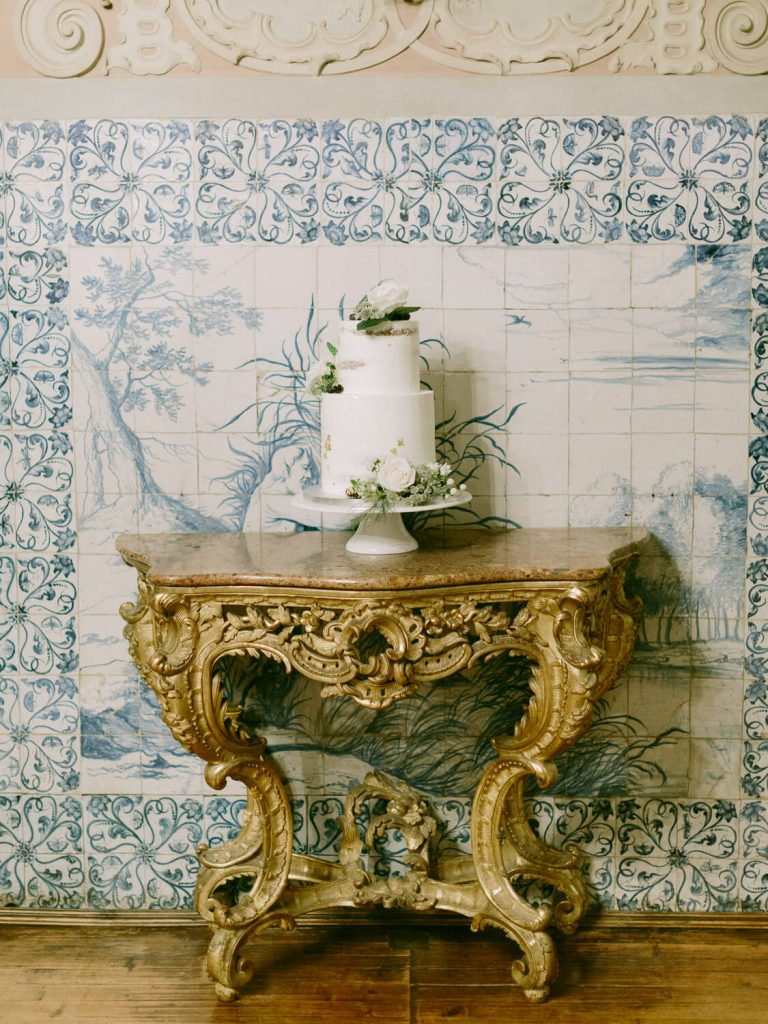 Wedding Cake over Blue Portuguese Tiles