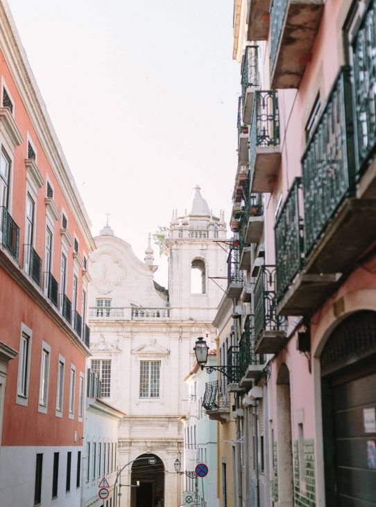 Lisbon typical narrow street view by Portugal Wedding Photographer