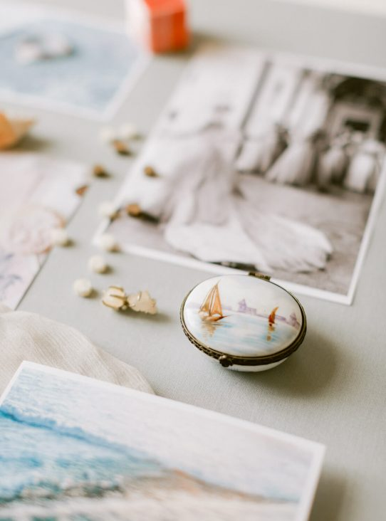 wedding flat lay with delicate hand-painted enamel box by Portugal Wedding Photographer