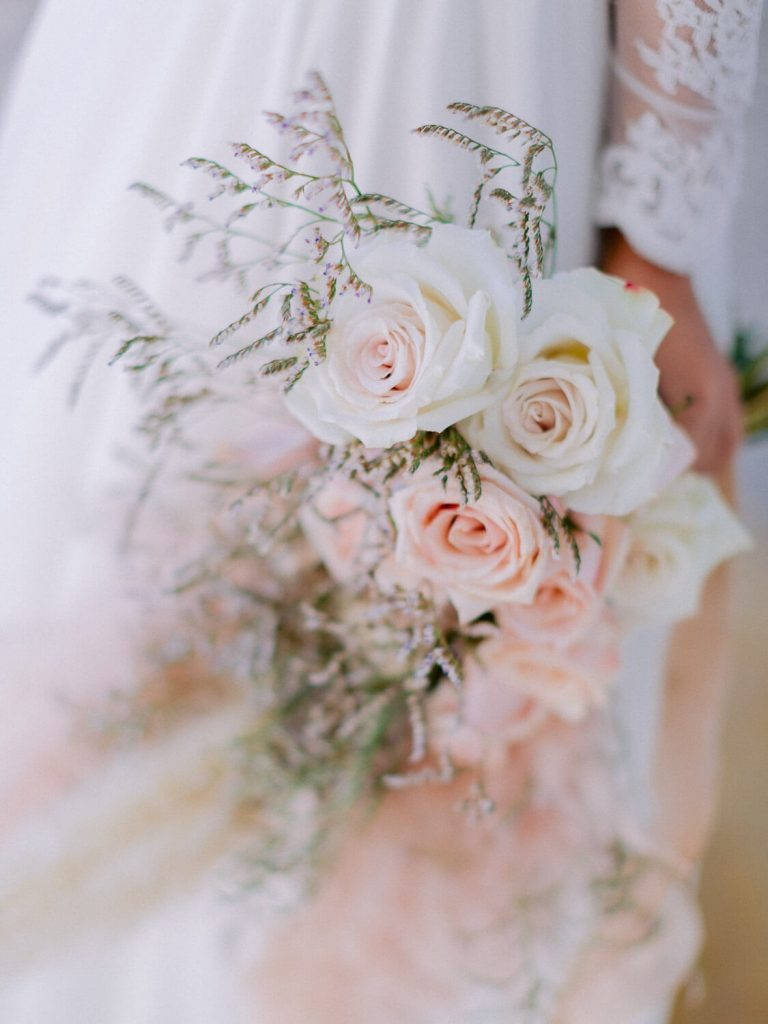 Bridal bouquet of blush roses